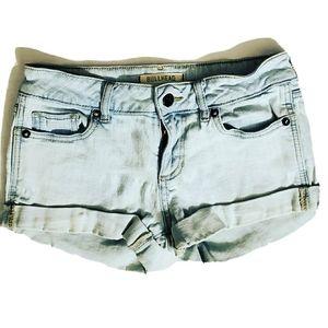 Bullhead Light Wash Cuffed Blue Denim Shorts